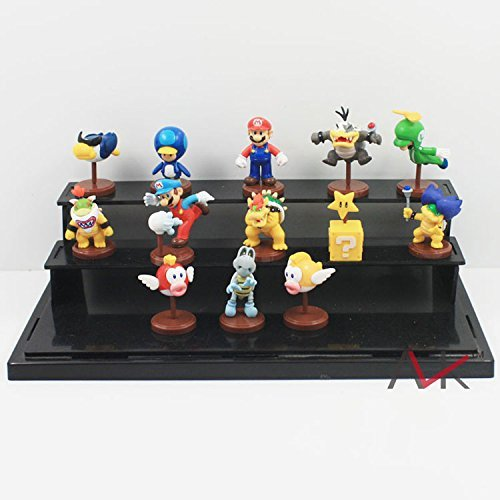 13 Piece /Set Super Mario Bros Figure Luigi Bomb Toad Peach Yoshi Koopalings PVC Model Size 5-6 cm. Weight 150 g. Green Box