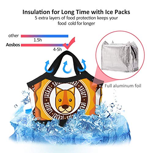 Safari Animals Cartoon Jaguar Men Women Waterproof Lunch Bag 8.5x8.5x4.6in Internal Foil Insulated Lunch Tote Cooler Cooling Bags Boxes for Work Office Picnic Beach,Lunch Bag