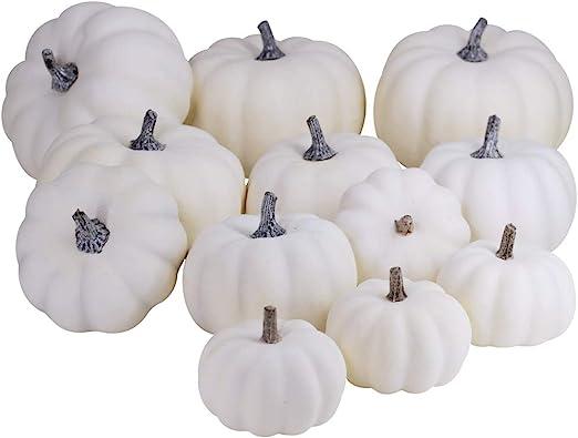 Halloween Artificial Mini Small Pumpkin Fall Autumn Thanksgiving Garden Home Harvest Decor Crafts 12 Pcs White Pumpkins Decorating Bulk