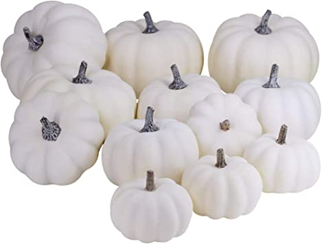 BESTTOYHOME 10 PCS Assorted Sizes Rustic Harvest White Artificial Pumpkins  for Halloween, Fall Thanksgiving Decorating Harvest Embellishing and