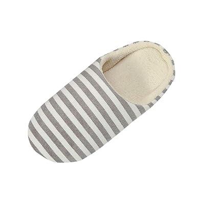 3df999091f3d36 LuckyGirls Femme Hommes Chaudes Pantoufles Automne Hiver Rayure Coton  Chaussons Slip-on Slippers Chaussures Pantoufles antidérapantes Pantoufles  Chaudes: ...
