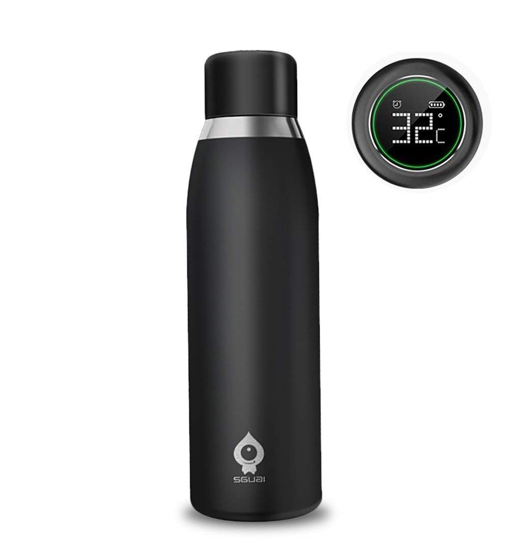 PowCube Smart Water Bottle Cup,Intelligent Water Bottles Automatic Reminder and Temperature Display 500ML Steel Vacuum Cup