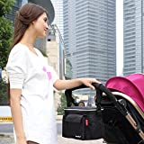 Stroller Pram Bag,Pram Buggy Baby Organiser Storage Bag Pushchair Insulated Bag Shoulder Bag