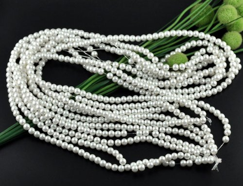 PEPPERLONELY Brand 5 Strands (32-1/4 Inch apprx 110PC/Strand) Round 8mm White Glass Pearl Loose -