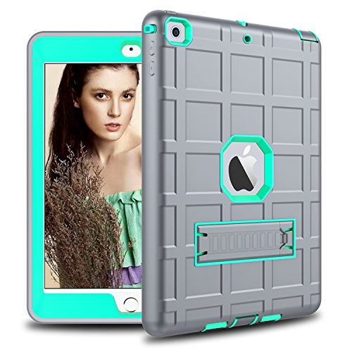 DONWELL Compatible for iPad 6/5 Case 9.7 2018/2017 Shockproof Defender Protective Cover with Kickstand Designed for iPad 5th / 6th Generation Model A1823 A1822 A1893 (Type2- Grey/Light Green)