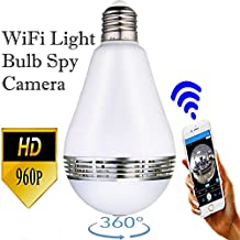 Security Camera Light Bulb Spy Cam Wifi HD EstesPro's (Updated version) 360 Degree View Dome Monitor Indoor and outdoor
