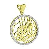 Allah Round Pendant 10K Yellow Gold Genuine 0.69 Carat Diamonds Religious Muslim