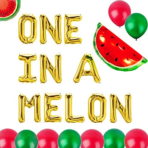 Set of 13 JeVenis One in a Melon Balloons Watermelon Balloon One In A Melon Party Decoration Watermelon First Birthday Balloons Watermelon 1st Balloons