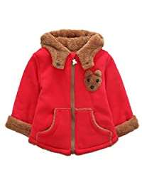 Happy Cherry Unisex Baby Cartoon Bear Outwear Winter Warm Hooded Zipper Jackets