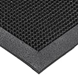 NoTrax T28 SBR Rubber Finger Scrape Entrance Mat, for Wet and Dry Areas, 36'' Width x 60'' Length x 3/8'' Thickness, Black