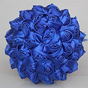USIX Handcraft Solid Color Popular Satin Rose Bridal Holding Wedding Bouquet Wedding Flower Arrangements Bridesmaid Bouquet(Blue Dia 8.27 inch) 57
