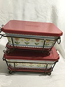 """Set 2 Temp-tations Presentable Ovenware """"Caring Is Sharing"""" Heart Love Tulip Baking Meat Loaf Dish"""