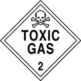 Accuform Signs MPL206VP50 Plastic Hazard Class 2 DOT Placard, Legend ''TOXIC GAS 2'' with Graphic, 10-3/4'' Width x 10-3/4'' Length, Black on White (Pack of 50)