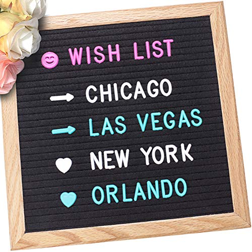 (Felt Letter Board with Easel Stand,10'' x 10'' Solid Oak Frame with 680 Changeable Characters, Word Message Board with Wall Hanger,Canvas Bag, Perfect for DIY,Quotes, and Messages)