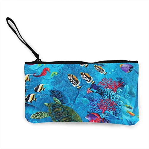 Oomato Canvas Coin Purse Fish Pond Cosmetic Makeup Storage Wallet Clutch Purse Pencil Bag