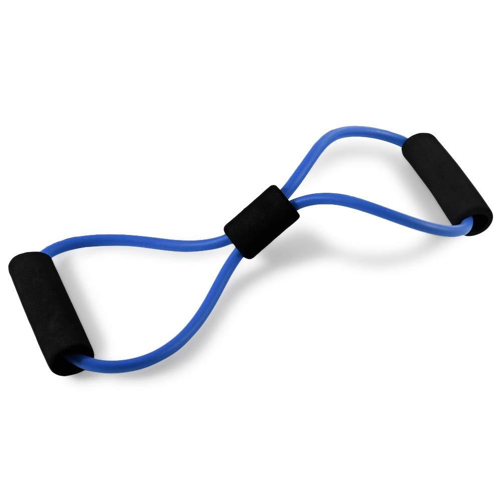 Zhuhaimei,Banda de Resistencia TPE de Ocho Formas para Entrenamiento físico, Gimnasio de Yoga(Color:Azul Hielo) Banda de Resistencia TPE de Ocho Formas para Entrenamiento físico