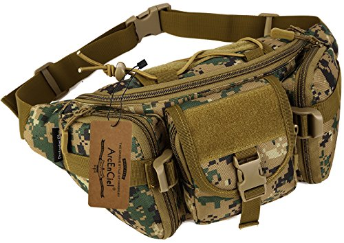 (ArcEnCiel Water Resistant Tactical Waist Pack Bag Military Fanny Packs Hip Belt Bag Pouch for Hiking Climbing Outdoor Bumbag (Jungle Camouflage))