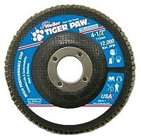 "Weiler 51163 Tiger Paw XHD Super High Density Abrasive Flap Disc, Type 27 Flat Style, Phenolic Backing, Zirconia Alumina, 4-1/2"" Diameter, 7/8"" Arbor, 80 Grit, 12000 RPM (Pack of 10)"