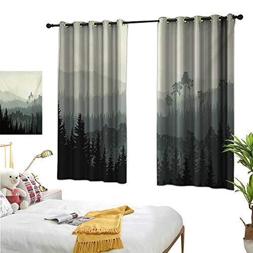 Linen Curtains Forest,The Panorama of a Valley and Mystic Forest of Pine Trees Nature Theme,Egg Shell and Sage Green 72