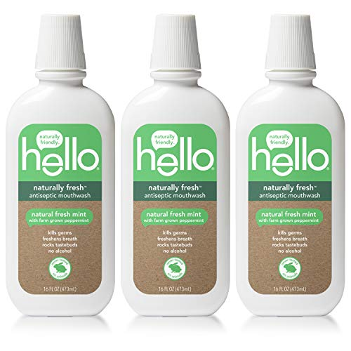 (Hello Oral Care Naturally Fresh Antiseptic Fluoride Free Mouthwash, SLS Free Fresh Mint With Farm Grown Peppermint, 3 Count)