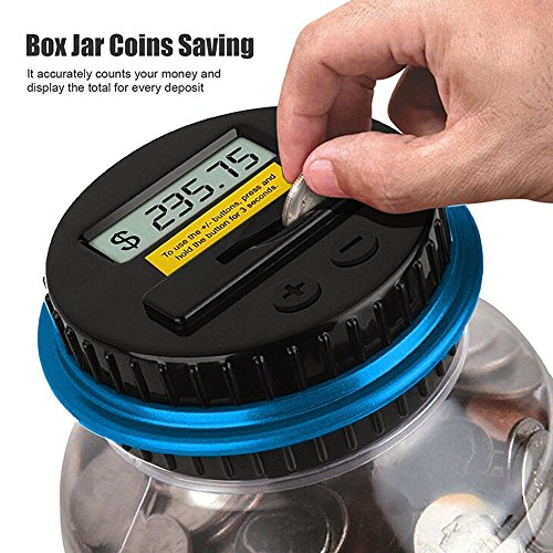 (SUIE Digital Coin Bank Savings Jar with LCD Display - Automatic Coin Counter all U.S. Coins)