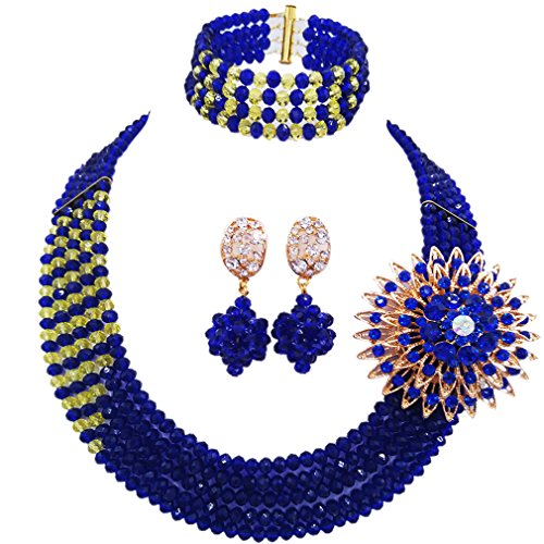Africanbeads 3-Row 6mm Lake Blue Crystal Beads Jewelry Set Statement Women Party Necklace Set