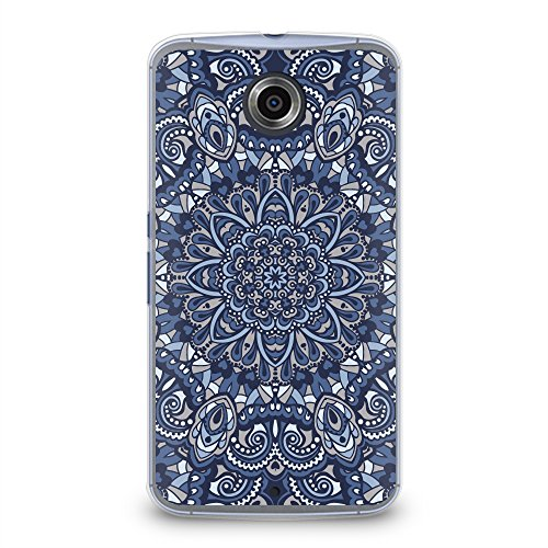 Case for Nexus 6, CasesByLorraine Blue Mandala Floral Pattern Plastic Hard Cover for Motorola Google Nexus 6 (N15-2) (Nexus 6 Case Pattern)