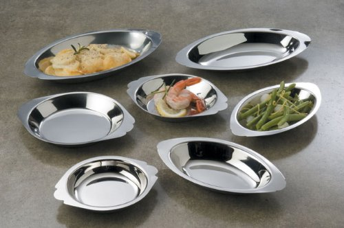 American Metalcraft (AO120) 12 oz Oval Stainless Au Gratin Dish