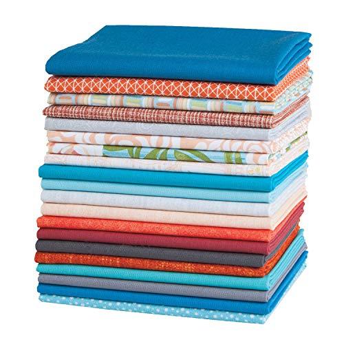 Connecting Threads Stashbuilder Precut Quilting Fabric Fat Quarter Bundle (Blue & Orange) ()