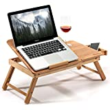 HANKEY Bamboo Large Foldable Laptop Notebook Stand Desk with Height Adjustable Legs Drawer Cup Holder Bed Table Serving Tray for Eating Breakfast  Reading Book  Watching Movie on iPad
