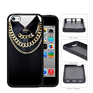 Black Shirt And Cuban Link Gold Chains Rubber Silicone TPU Cell Phone Case Apple iPhone 5c