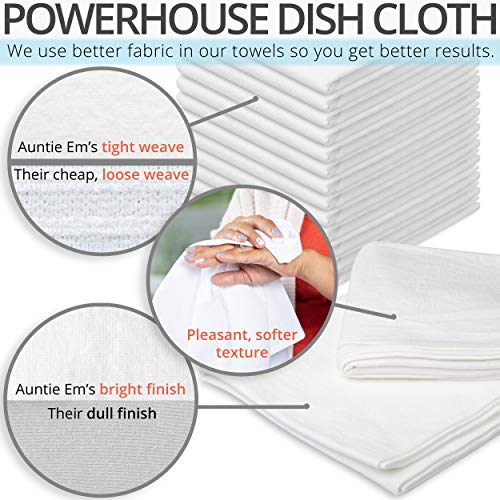 Aunti Em's Kitchen Flour Sack Dish Towels – Natural Cotton for Embroidery and Drying Glass, Hand, Dinnerware – Plain…