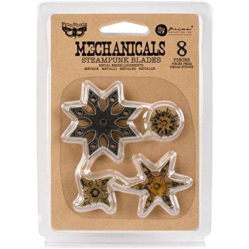 UPC 655350963446, Prima Marketing 963446 Steampunk Blades Finnabair Mechanicals Metal Embellishments (8 Pack), Multicolor