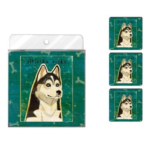 Tree-Free Greetings NC38027 John W. Golden 4-Pack Artful Coaster Set, Siberian Husky (Husky Kennel Siberian Club)