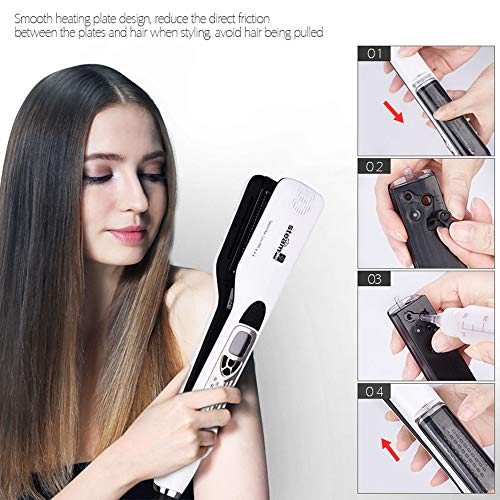 Professional Hair Straightener Brush,Electric Steam Comb Straightening Iron Hair Flat Iron Fast Steampod Moisturizing Hair Straightener Brush LCD Display White