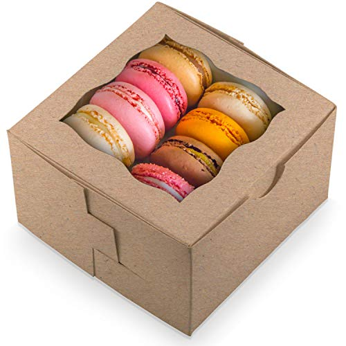 [50Pack] Bakery and Wedding Favor Boxes with Window 4x4x2.5