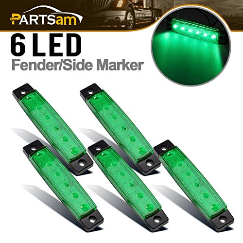 Partsam 5X 12V 6 LED Truck Bus Boat Car Trailer Side Marker Parking Light Lamp Green, 3.8