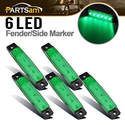 Partsam 5x 12V 6 LED Truck Bus Boat Car Trailer Side Marker Parking Light Lamp Green, 3.8