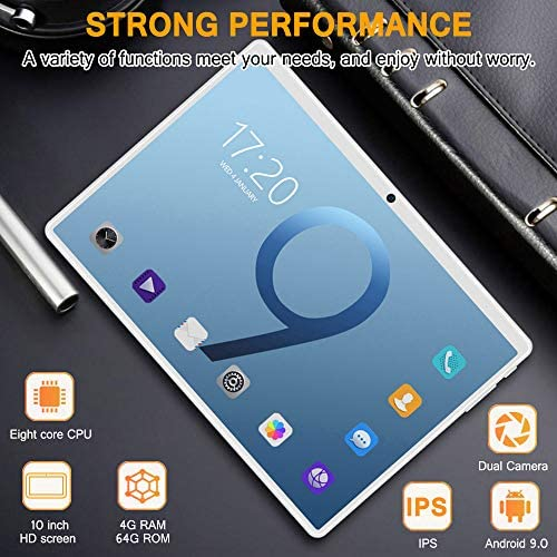 10 Inch Android Tablet PC, 5G Wi-Fi, Octa -Core Processor, Android 9.0, 4GB RAM + 64ROM, 1280×800 IPS HD Display, Bluetooth,GPS,5000 mah Battery,G3 (Silver) 51THmsPIeLL