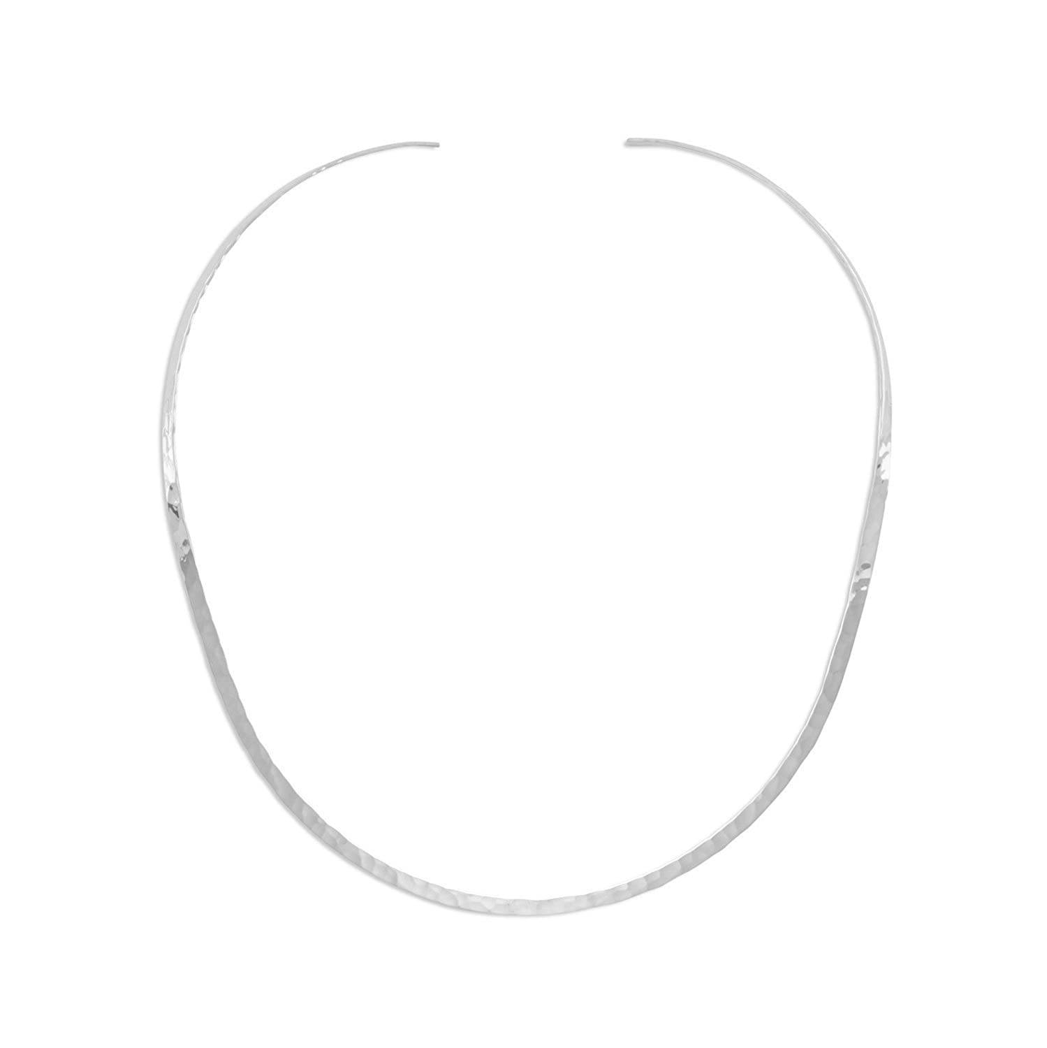 925 Sterling Silver Hammered Open Back Collar