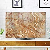 Auraisehome Dust Resistant Television Protector Different Version of Onyx Textured Marble Background with Curved Veins Image Orange tv dust Cover W25 x H45 INCH/TV 47''-50''