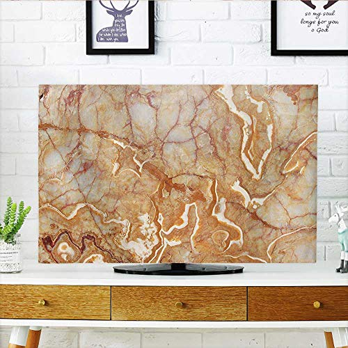 Auraisehome Dust Resistant Television Protector Different Version of Onyx Textured Marble Background with Curved Veins Image Orange tv dust Cover W25 x H45 INCH/TV 47''-50'' by Auraisehome