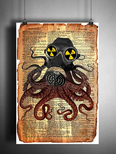 Octopus wearing gas mask, cool nautical steampunk art print ()