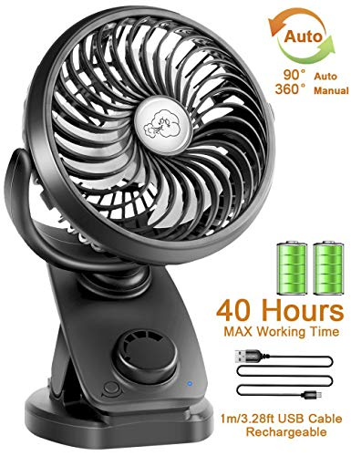 Stroller Fans Mini USB Desk Clip Fan,YXwin 2019 Newest Table Fan 40 Hours(Max Working Time) 360° Rotation 4400mah Battery 4 Speed Quiet Fan for Outdoor/Indoor Baby Car Travel Office Camping Library