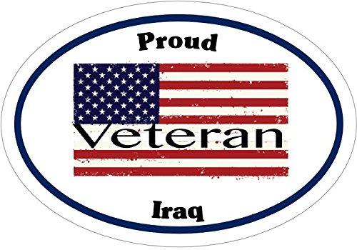 Patriotic Bumper Sticker WickedGoodz Oval American Flag Proud Iraq Veteran Vinyl Decal Perfect Military Soldier Gift