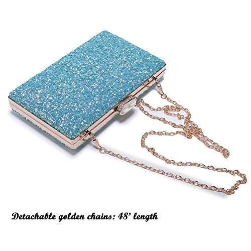 Women's Elegant Sparkling Glitter Evening Clutch Bags BlingEvening Handbag Purses For Wedding Prom Bride(Light Blue)