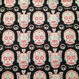Officially Licensed Star Wars R2-D2 and C-3PO Sugar Skulls Cotton Fabric Great for Quilting, Sewing, Craft Projects, Quilts, Throw Pillows /& More 1 Yard 1 Yard X 44 Wide