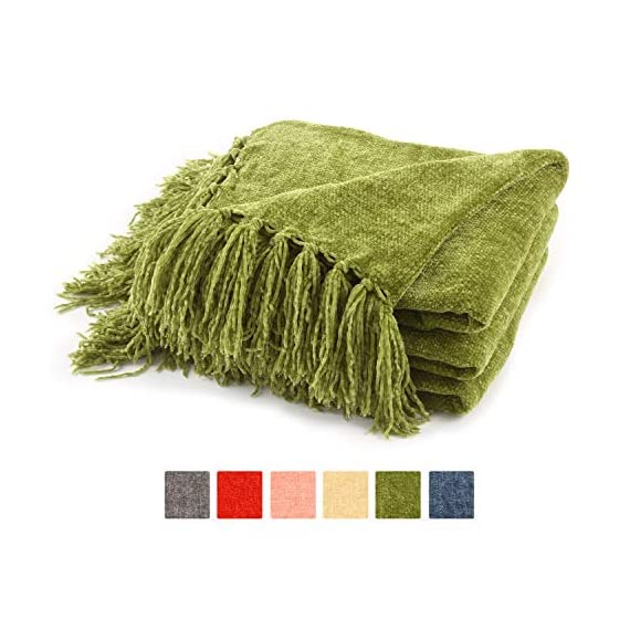 Freshmint Christmas Throw Blanket 60 x 50 Inch Thanksgiving Luxury Fluffy Chenille Knitted Blankets with Decorative Fringe and Striped for Home Decor Couch Cover Sofa Bed Gift, Green - ULTRA-SOFT PLUSH CHENILLE - This Fluffy Throw Blanket with fringes is made of 100% soft gentle chenille It's incredibly soft, wrinkle and fade resistant, doesn't shed, and is suitable for all seasons. PERFECT THANKSGIVING GIFT CHOICE- This throw blanket makes a great gift for your mom, wife, sister, grandmother or anyone else you think might need it. Perfect for birthdays, Christmas, housewarming and much more. VERSATILE USAGE - This blanket can be used for many things such as; cover for your couch, in the bed, outside in the patio on a cool summer evening, beach or even if you go camping or hiking. Its lightweight and very easy to bring with you - blankets-throws, bedroom-sheets-comforters, bedroom - 51THo I8Q3L. SS570  -