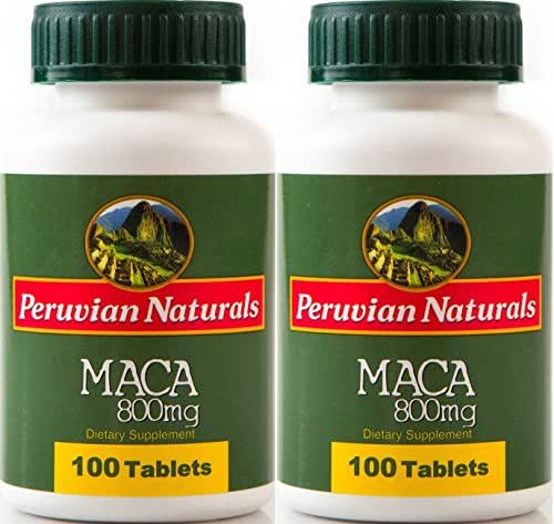 Peruvian Naturals Maca 800mg - 200 Tablets | Made with Raw Maca Root Powder from Peru for Energy and Fertility
