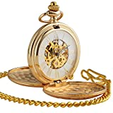 ManChDa Golden Double Hunter Case Skeleton Pocket Watch Roman Numerals Mechanical for Men Women